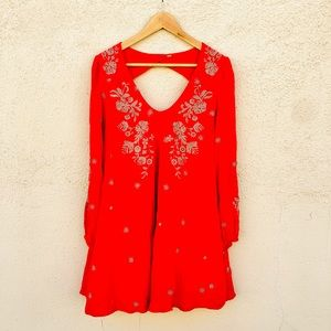 FREE PEOPLE Sweet Tennessee Red Swing Tunic Dress